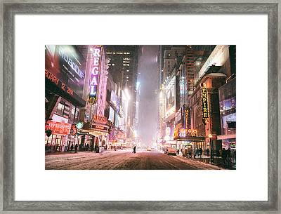 New York City - Winter Night - Times Square In The Snow Framed Print