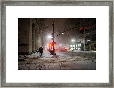 New York City Winter - Romance In The Snow Framed Print by Vivienne Gucwa