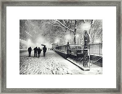 New York City - Winter - Snow At Night Framed Print by Vivienne Gucwa
