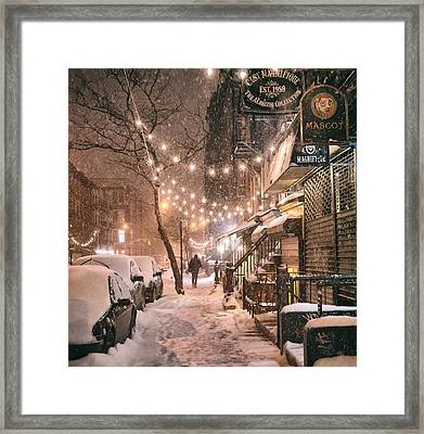 New York City - Winter Snow Scene - East Village Framed Print