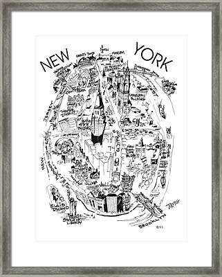 New York City's Points Of Interest Framed Print