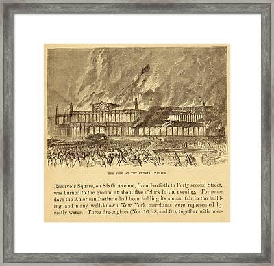 New York Crystal Palace On Fire Framed Print