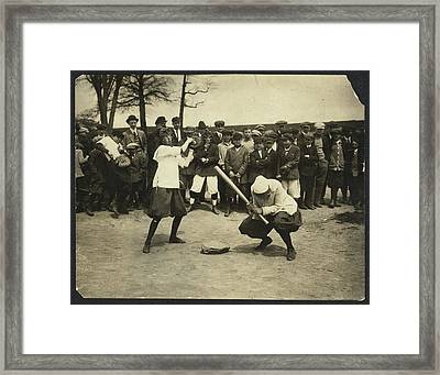 New York Female Giants - Miss Mccullum Catcher And Miss Framed Print by Litz Collection