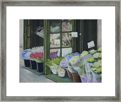 New York Flower Shop Framed Print by Rebecca Matthews