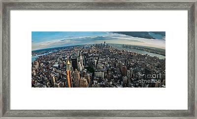 New York From A Birds Eyes - Fisheye Framed Print