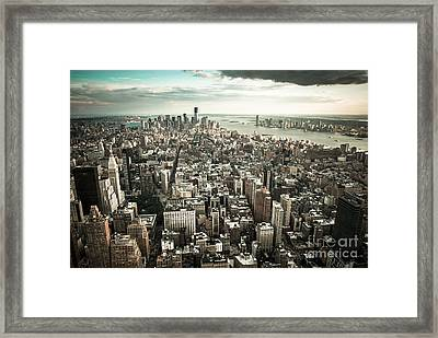 New York From Above - Vintage Framed Print by Hannes Cmarits