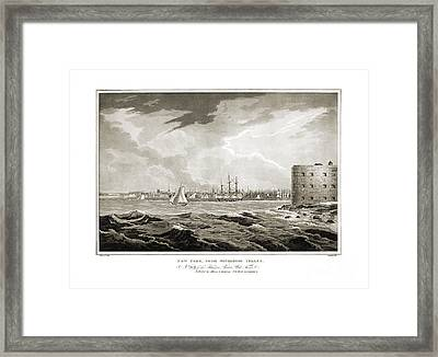 New York From Governors Island - 1821 Framed Print