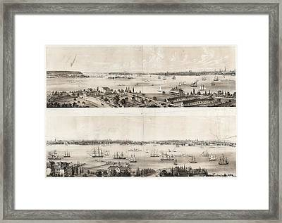 New York From Staten Island Brooklyn City Jersey City New Framed Print by Litz Collection