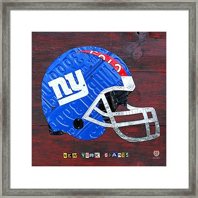 New York Giants Nfl Football Helmet License Plate Art Framed Print
