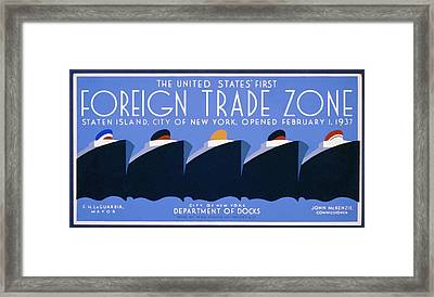 Framed Print featuring the painting New York Harbor by American Classic Paper