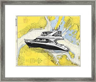 New York Harbor Chart Art Framed Print