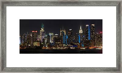 New York In Blue Framed Print by Mike Reid