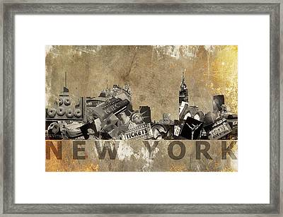 New York City Grunge Framed Print by Suzanne Powers