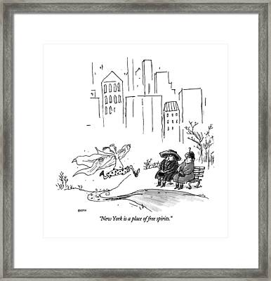 New York Is A Place Of Free Spirits Framed Print by George Booth