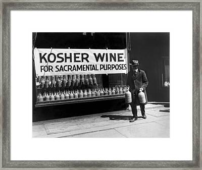 New York Kosher Wine For Sale Framed Print by Underwood Archives
