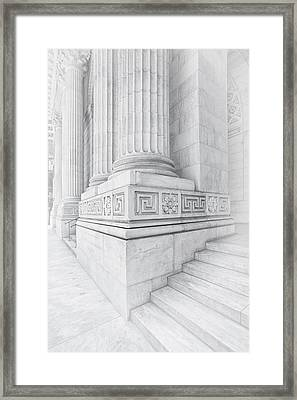 New York Library Columns Framed Print by Susan Candelario