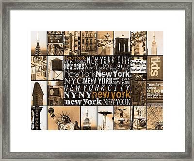New York Life In Sepia Framed Print