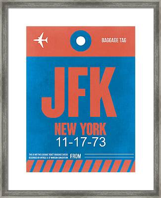 New York Luggage Tag Poster 1 Framed Print by Naxart Studio