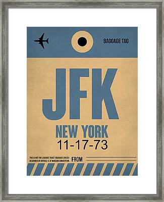 New York Luggage Tag Poster 2 Framed Print by Naxart Studio