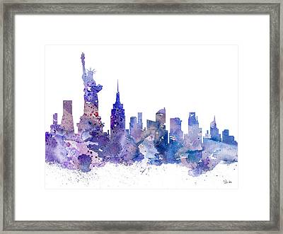 New York Framed Print by Watercolor Girl