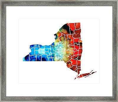 New York - Map By Sharon Cummings Framed Print by Sharon Cummings