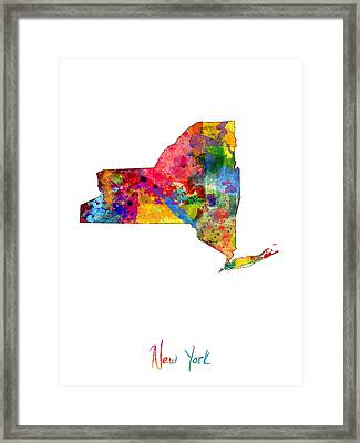 New York Map Framed Print by Michael Tompsett