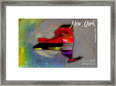 New York Map Watercolor Framed Print by Marvin Blaine