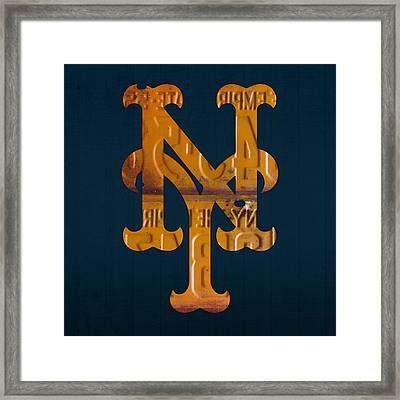New York Mets Baseball Vintage Logo License Plate Art Framed Print by Design Turnpike