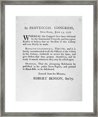 New York: Militia, 1776 Framed Print by Granger