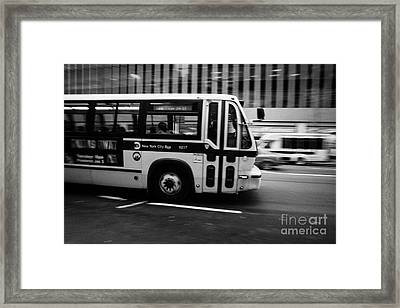 New York Mta City Bus Speeding Along 34th Street Usa Framed Print