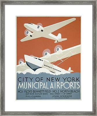 New York Municipal Airport Framed Print by American Classic Art