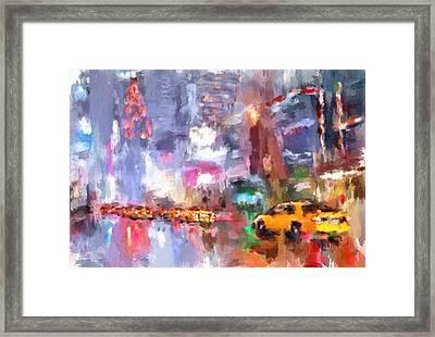 New York Night Lights 4 Framed Print by Yury Malkov