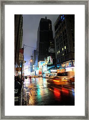 New York Night Framed Print by Stephen Richards