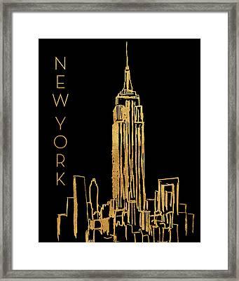 New York On Black Framed Print