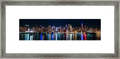 New York Panorama By Night Framed Print