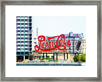 New York Pepsi Sign Framed Print by Jon Woodhams