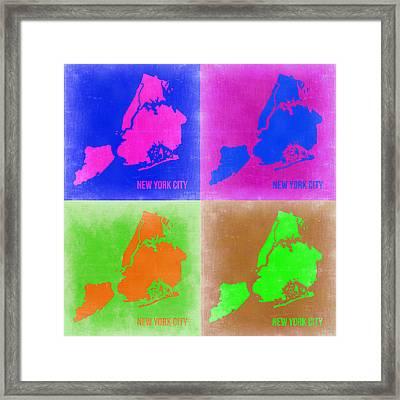 New York Pop Art  Map 2 Framed Print by Naxart Studio