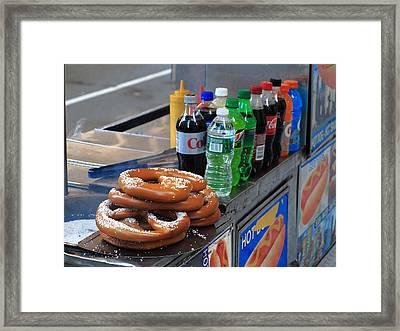 New York Pretzel Stand Framed Print by Frank Romeo