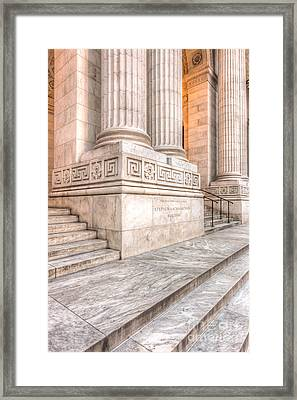 New York Public Library Columns And Stairs I Framed Print by Clarence Holmes
