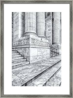 New York Public Library Columns And Stairs II Framed Print