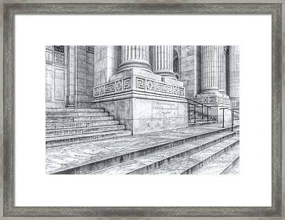 New York Public Library Columns And Stairs Iv Framed Print