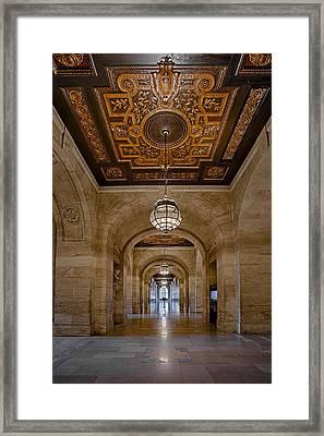 New York Public Library Corridor Framed Print by Susan Candelario