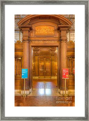 New York Public Library Main Reading Room Entrance I Framed Print by Clarence Holmes