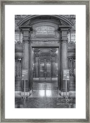 New York Public Library Main Reading Room Entrance II Framed Print by Clarence Holmes
