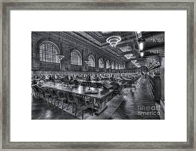 New York Public Library Main Reading Room V Framed Print by Clarence Holmes