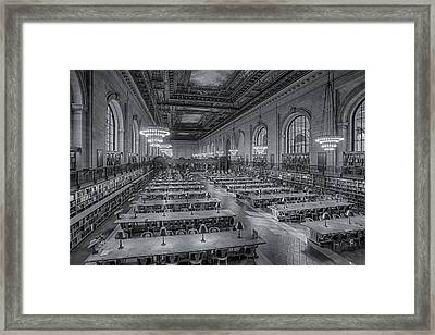 New York Public Library Rose Room Bw Framed Print by Susan Candelario