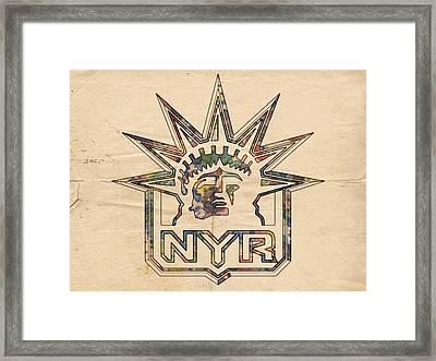 New York Rangers Vintage Poster Framed Print