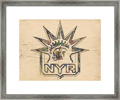 New York Rangers Vintage Poster Framed Print by Florian Rodarte