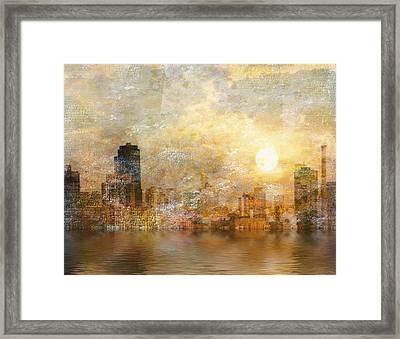 New York River Sunrise Framed Print