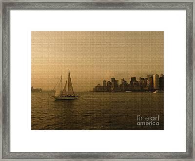 New York Sailing At Sunset Framed Print by Avis  Noelle